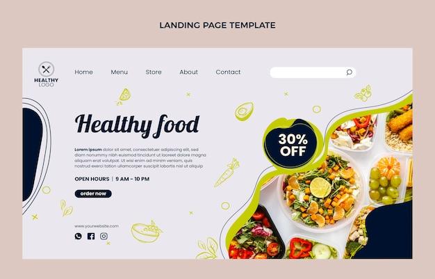 Page de destination des aliments sains au design plat