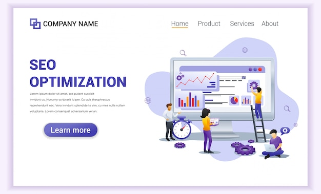 Page de destination d'analyse web seo