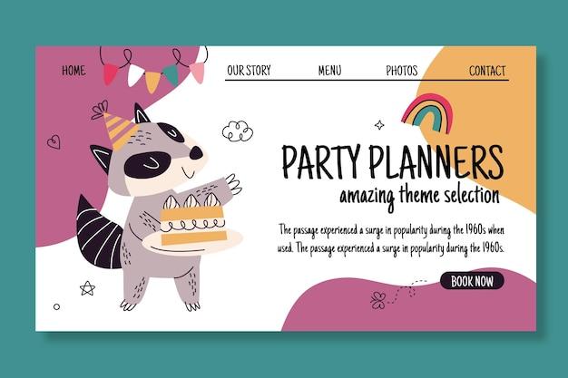 Page de destination d'anniversaire avec animal
