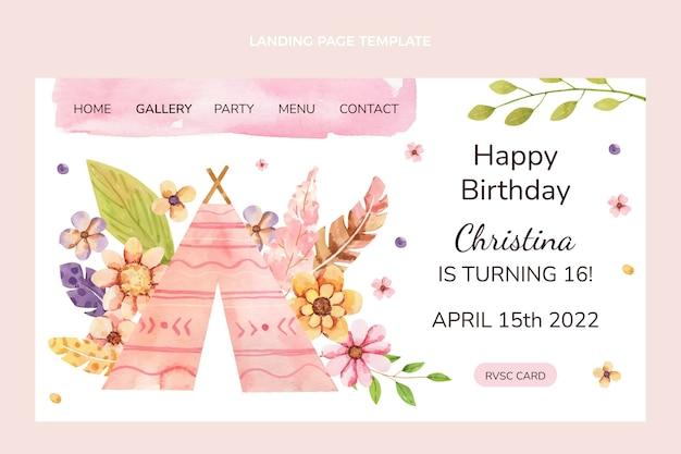 Page de destination d'anniversaire boho aquarelle