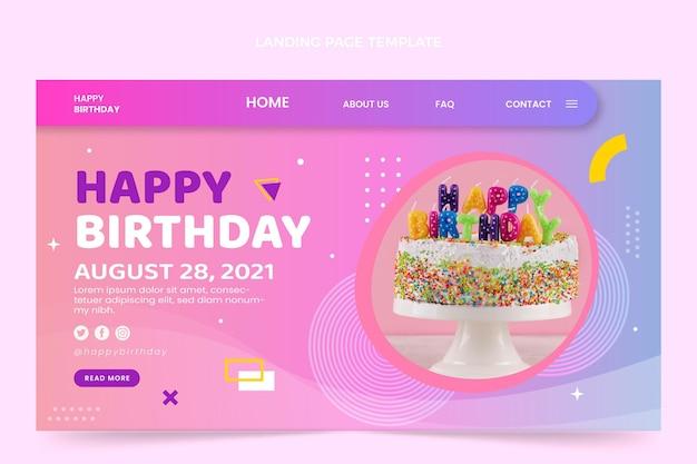 Page de destination d'anniversaire colorée dégradée