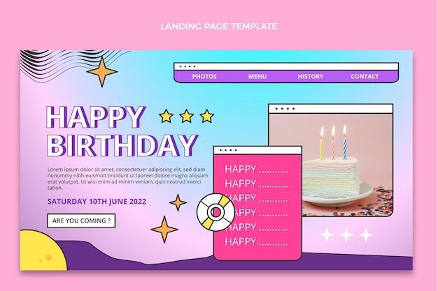 Page de destination d'anniversaire dégradé rétro vaporwave