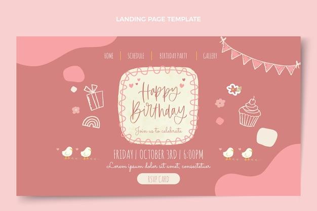 Page de destination d'anniversaire dessinée à la main à l'aquarelle