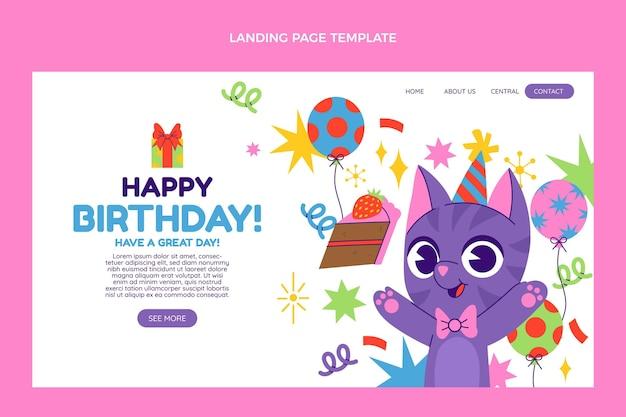 Page de destination d'anniversaire dessinée à la main
