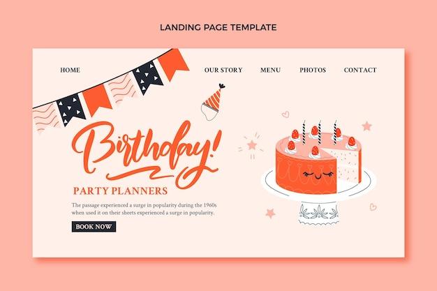 Page de destination d'anniversaire enfantine dessinée à la main avec un gâteau