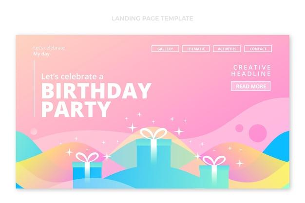 Page de destination d'anniversaire fluide abstrait dégradé