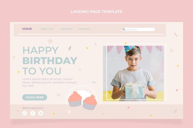 Page de destination d'anniversaire minimale plate