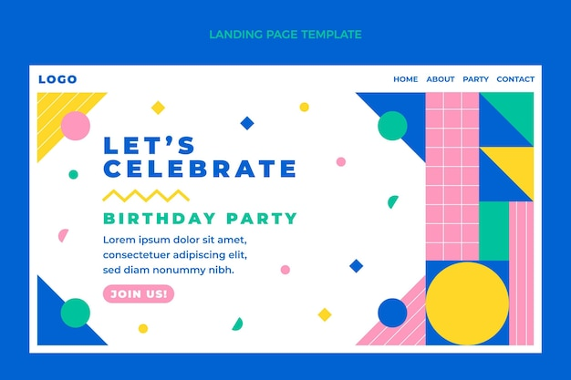 Page de destination d'anniversaire en mosaïque design plat