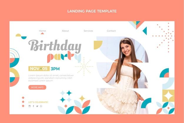 Page de destination d'anniversaire en mosaïque de style plat