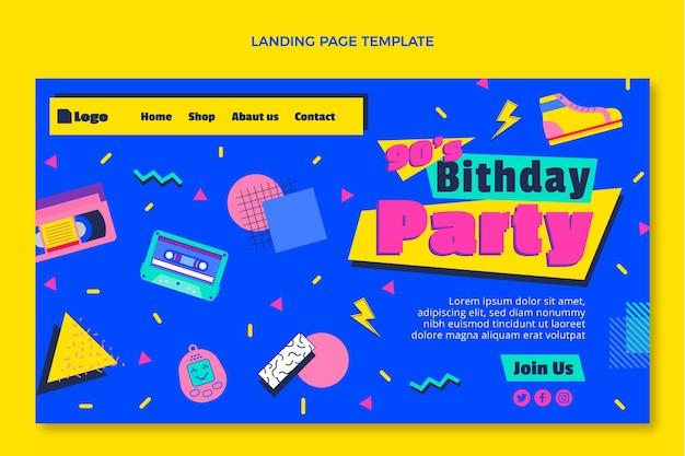 Page de destination d'anniversaire nostalgique des années 90 au design plat