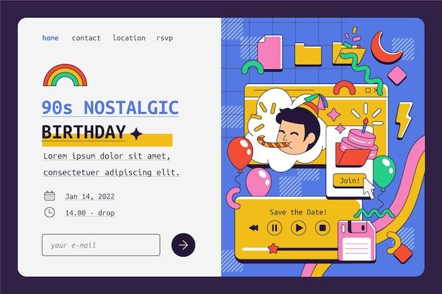 Page de destination d'anniversaire nostalgique des années 90 dessinée à la main