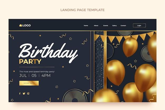 Page de destination d'anniversaire d'or de luxe réaliste