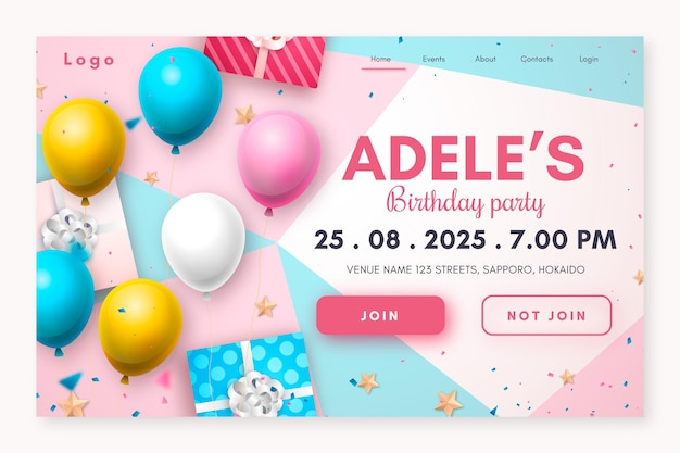 Page de destination d'anniversaire réaliste