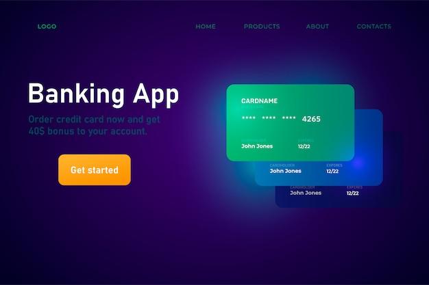 Page de destination de l'application de banque en ligne
