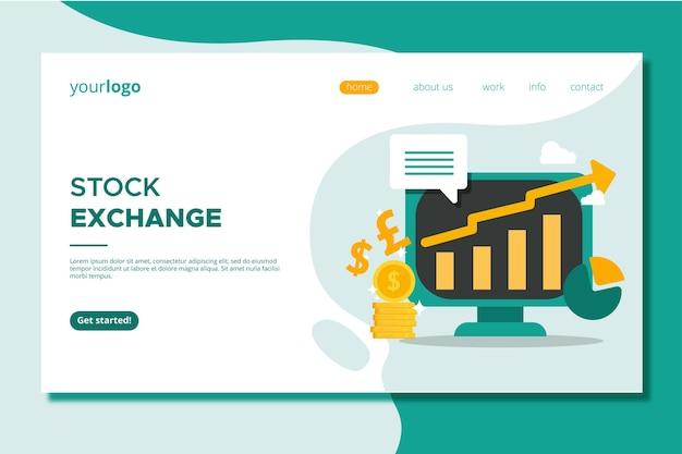 Page de destination de l'application boursière