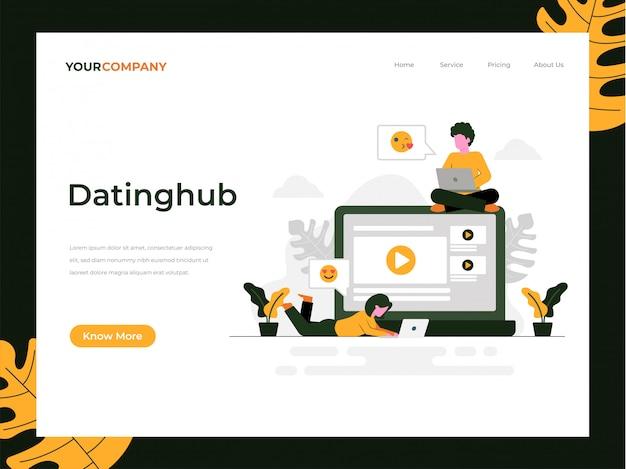 Page de destination de l'application de datation