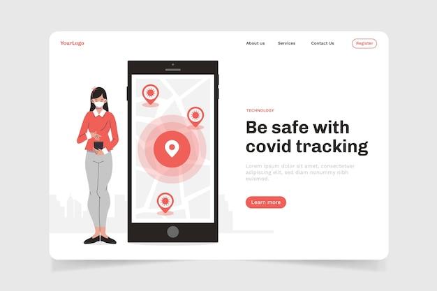 Page de destination de l'application de localisation de suivi des coronavirus