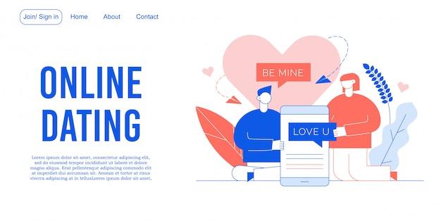 Page de destination de l'application mobile du service de rencontres en ligne