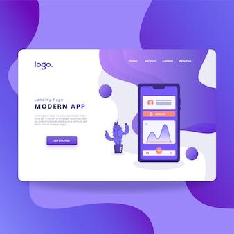 Page de destination de l'application moderne