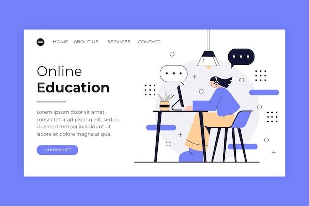 Page de destination d'apprentissage en ligne linéaire design plat