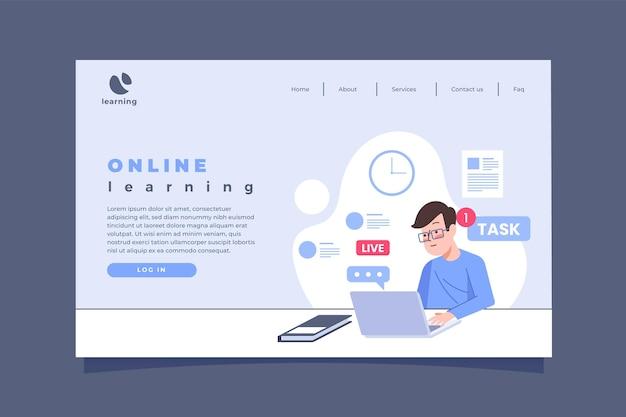 Page de destination d'apprentissage en ligne linéaire plat