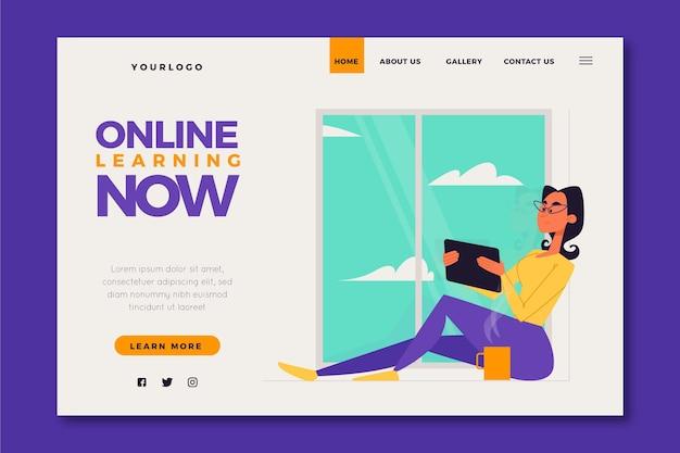 Page de destination d'apprentissage en ligne de style détaillé