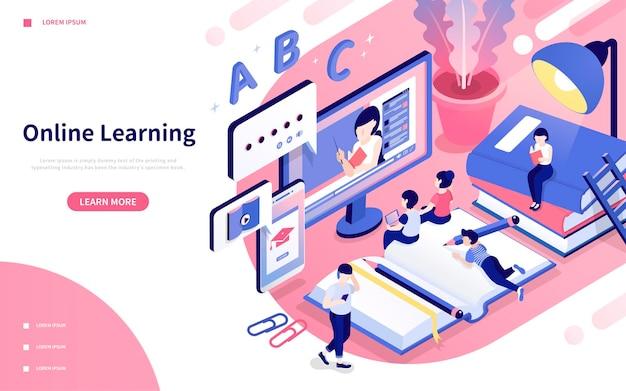 Page de destination d'apprentissage en ligne en vue isométrique