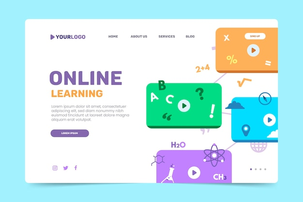 Page de destination de l'apprentissage en ligne