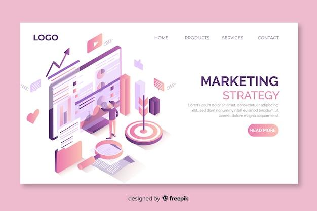Page de destination de l'approche marketing isométrique