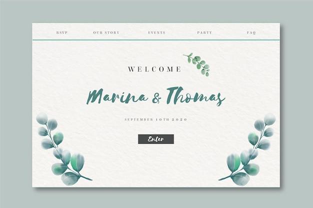 Page de destination aquarelle pour mariage