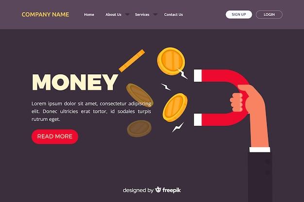 Page de destination de l'argent plat