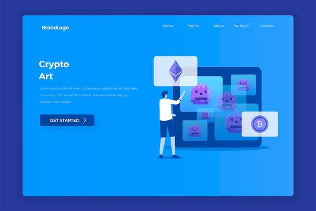 Page de destination de l'art cryptographique