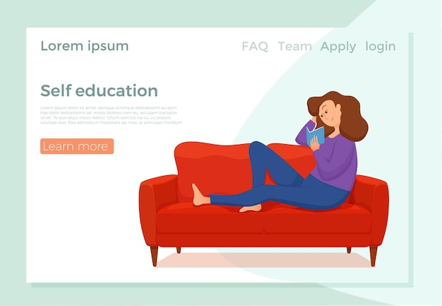 Page de destination d'auto-éducation. jeune femme lisant un livre assis sur le canapé