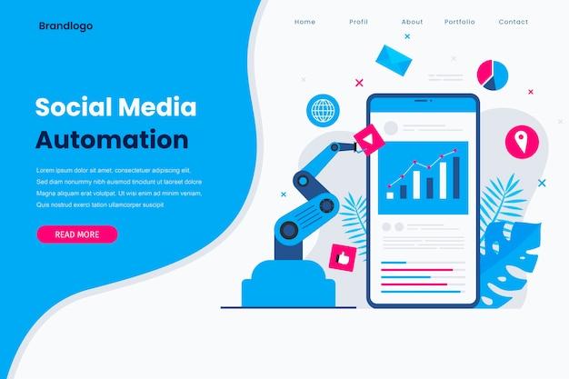 Page de destination de l'automatisation des médias sociaux.