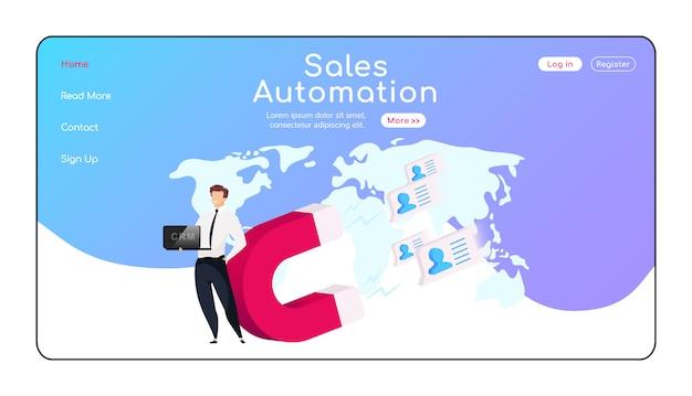 Page de destination de l'automatisation des ventes