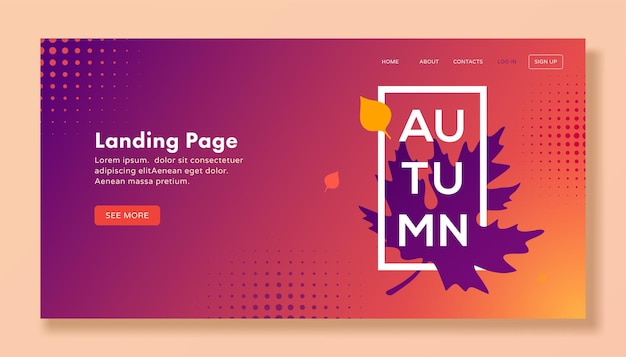 Page de destination automne moderne avec des feuilles pour le web