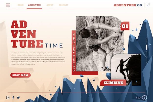 Page de destination d'aventure en dégradé avec photo