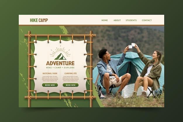 Page De Destination D'aventure En Dégradé Avec Photo Vecteur gratuit