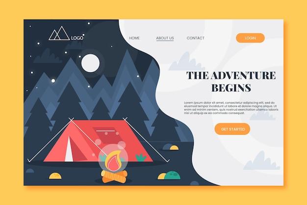 Page de destination d'aventure plate