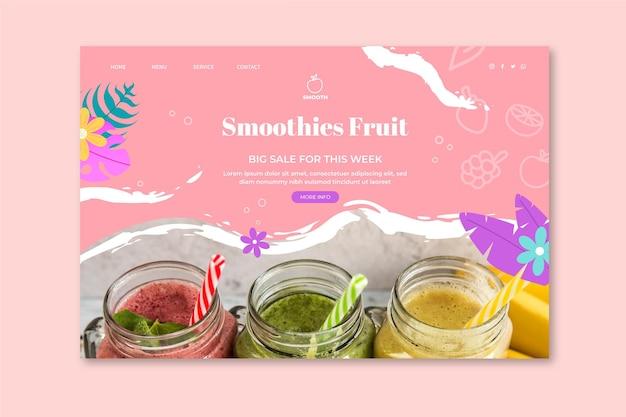 Page de destination de la barre de smoothies