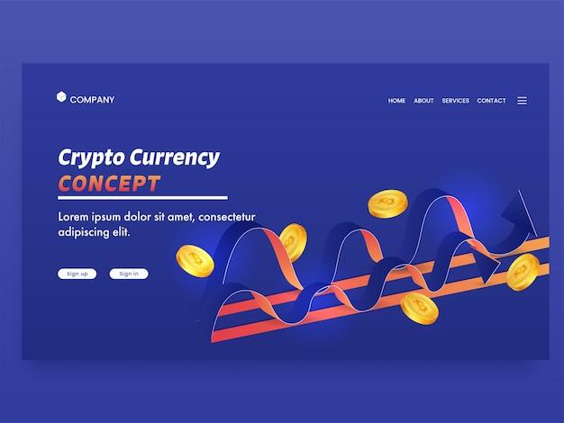 Page de destination basée sur le concept de crypto-monnaie avec des bitcoins dorés et des vagues sur fond bleu.