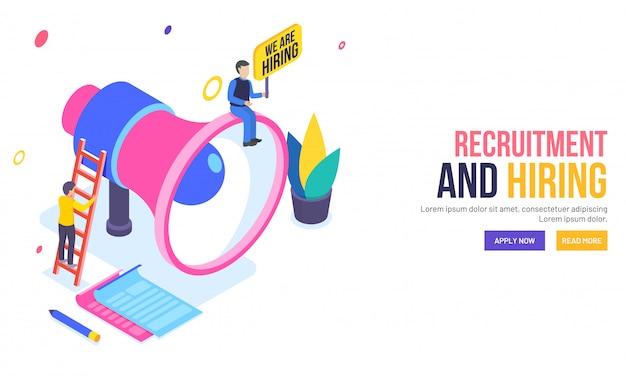 Page de destination basée sur le concept de recrutement ou d'embauche.