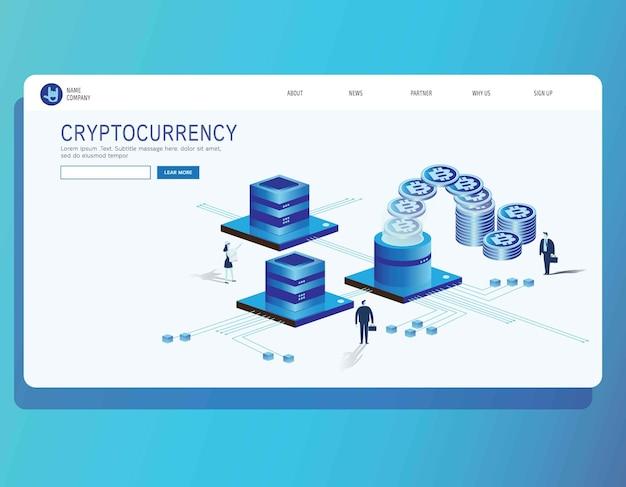 Page de destination bitcoin, crypto-monnaie et blockchain
