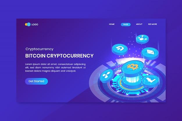 Page de destination bitcoin isométrique de crypto-monnaie