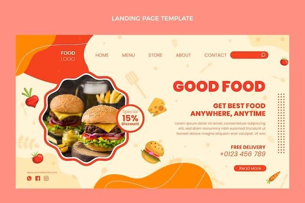 Page de destination de la bonne nourriture au design plat