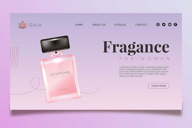 Page de destination de la bouteille cosmétique