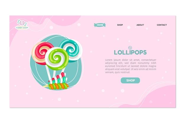 Page de destination de la boutique de bonbons