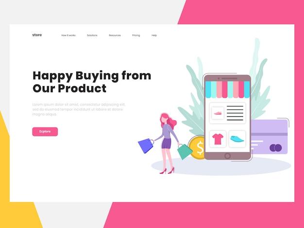 Page de destination de la boutique en ligne e-commerce