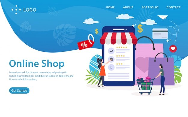 Page de destination de la boutique en ligne, modèle de site web, facile à modifier et à personnaliser, illustration vectorielle