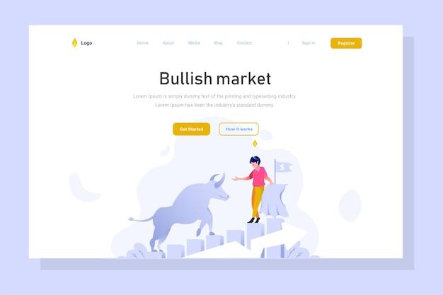Page de destination de bull profit graphique croissance financière style design plat vector illustration